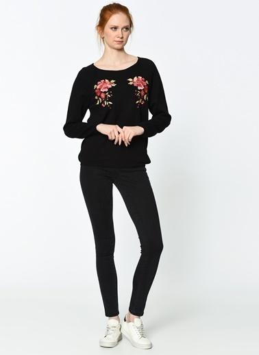 Lee Cooper Çiçekli Triko Kazak Siyah